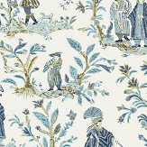 Thibaut Royale Toile Turquoise / Navy Wallpaper - Product code: T72574