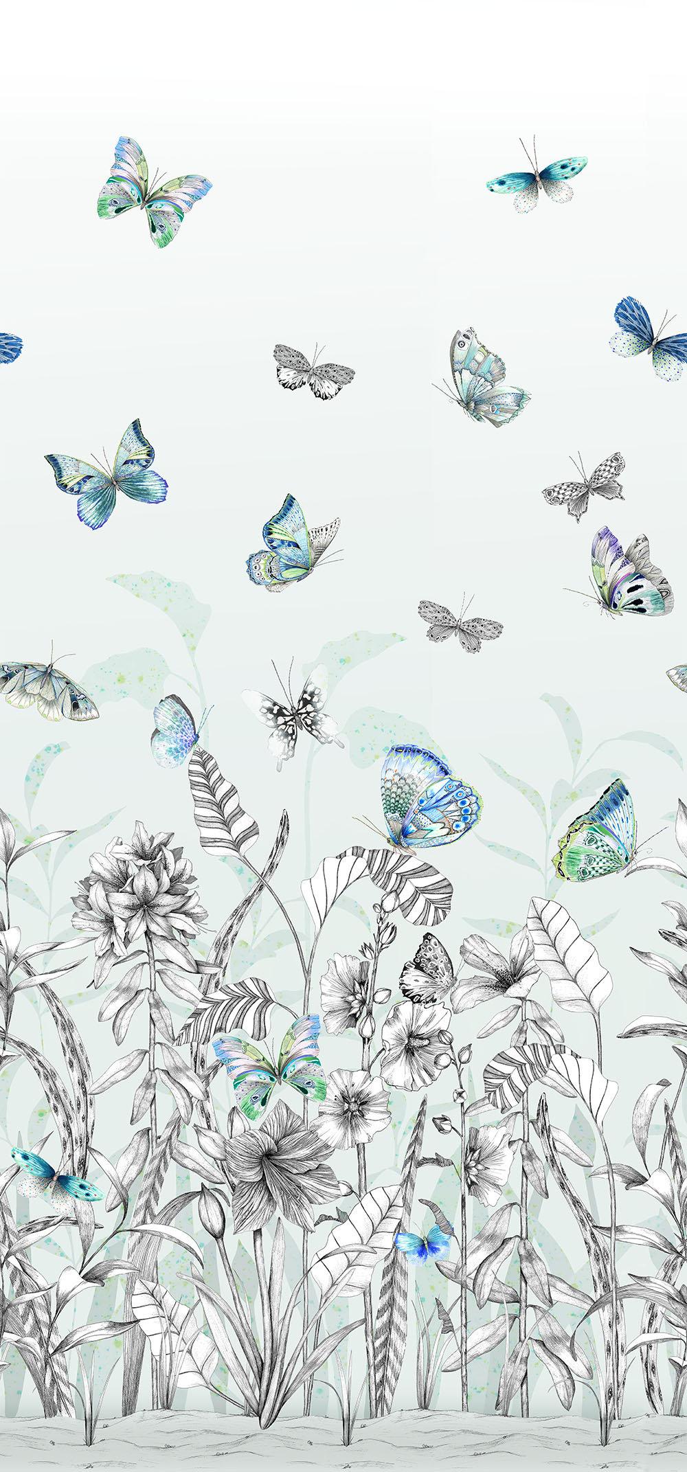 Papillons Mural - Eau De Nil - by Designers Guild