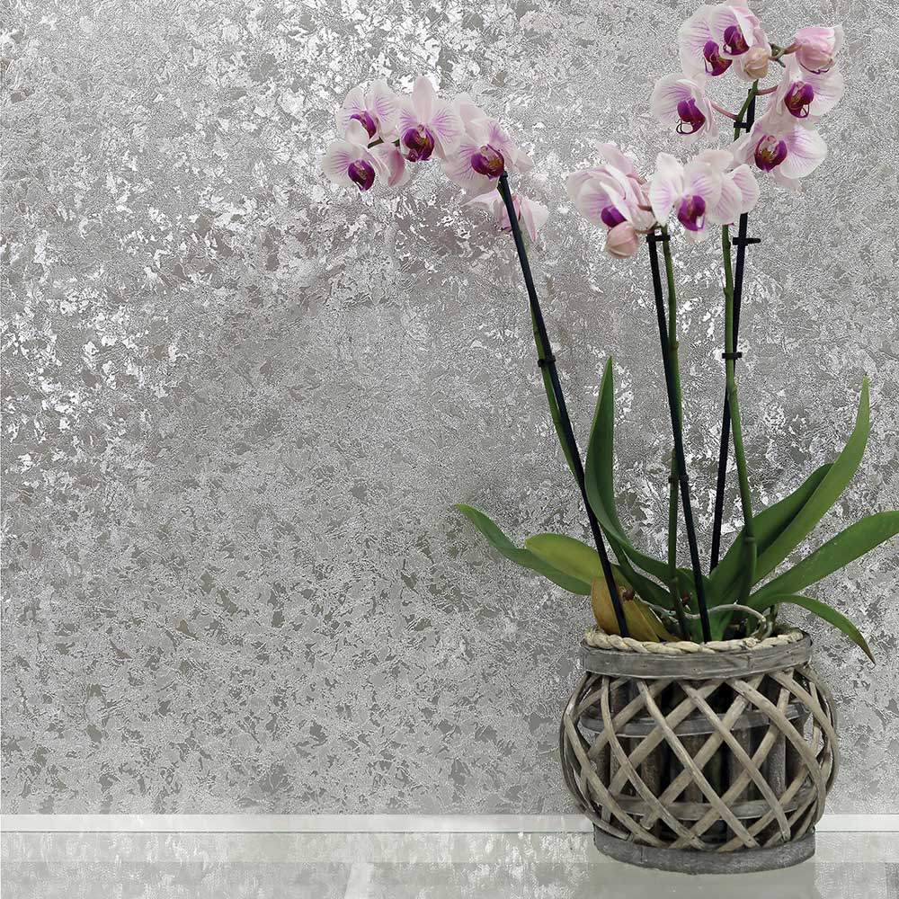 Velvet Crush Foil Wallpaper - Silver - by Arthouse