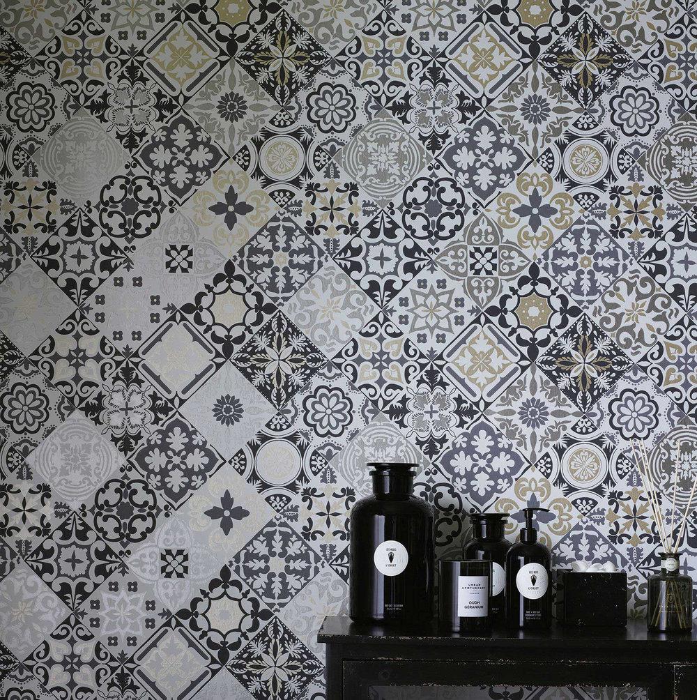 Cervo Wallpaper - Black / White - by Osborne & Little