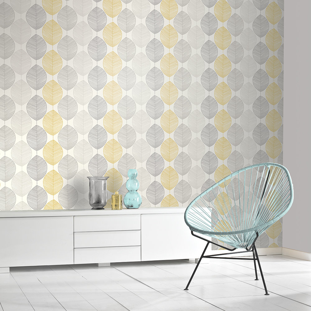 Scandi Leaf Wallpaper - Yellow - by Arthouse