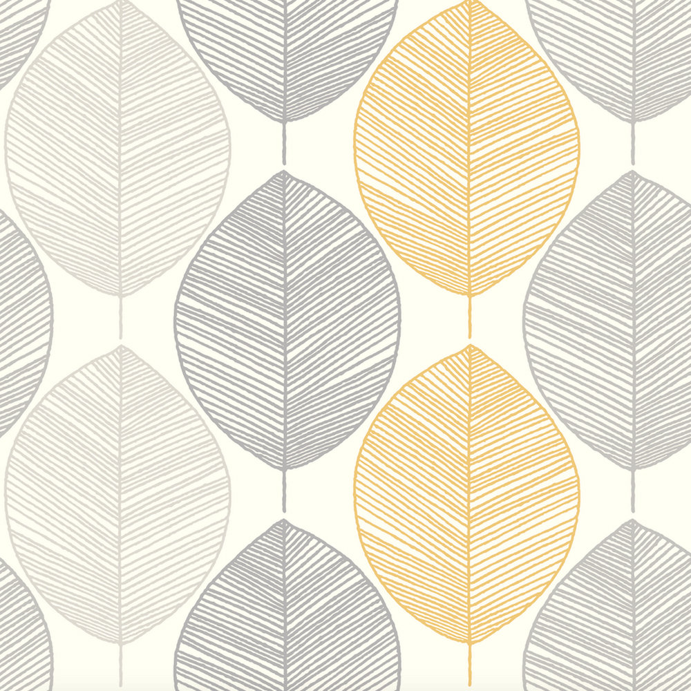 Arthouse Scandi Leaf Yellow Wallpaper - Product code: 698401