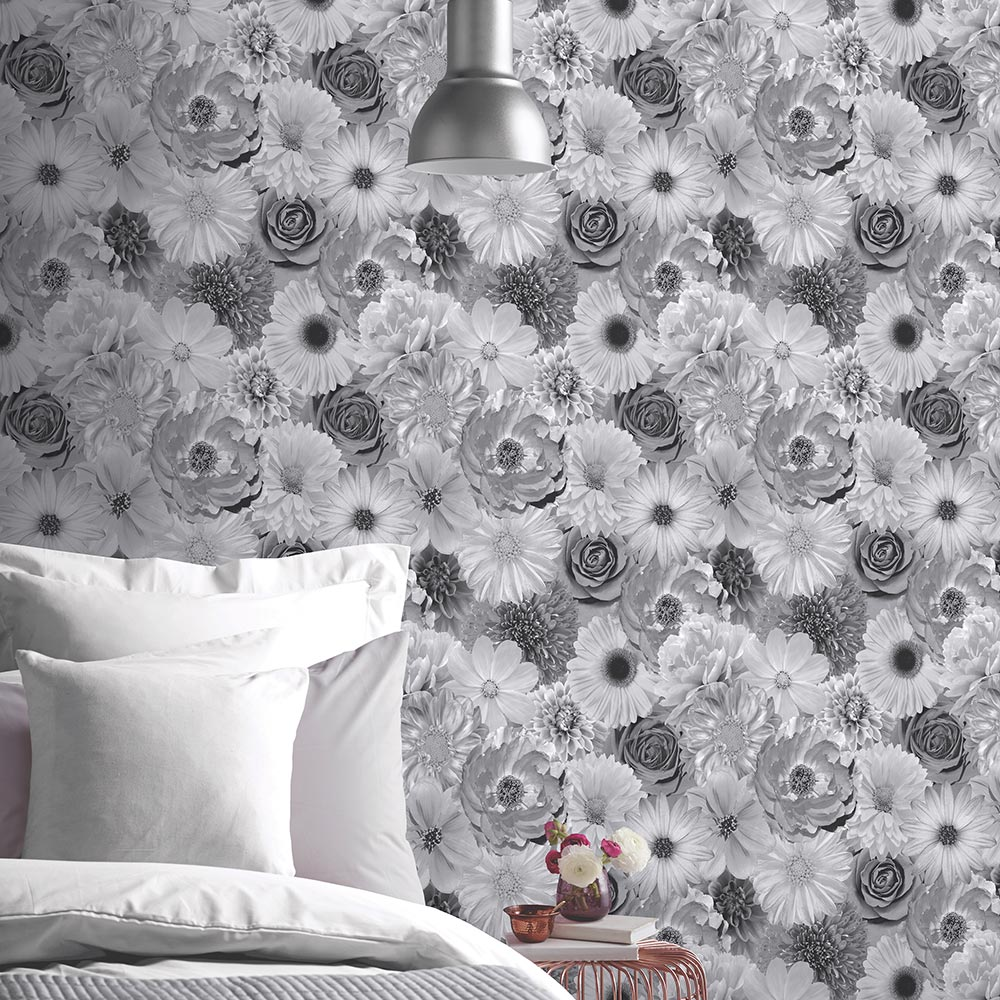 Foil In Bloom Wallpaper - Mono - by Arthouse