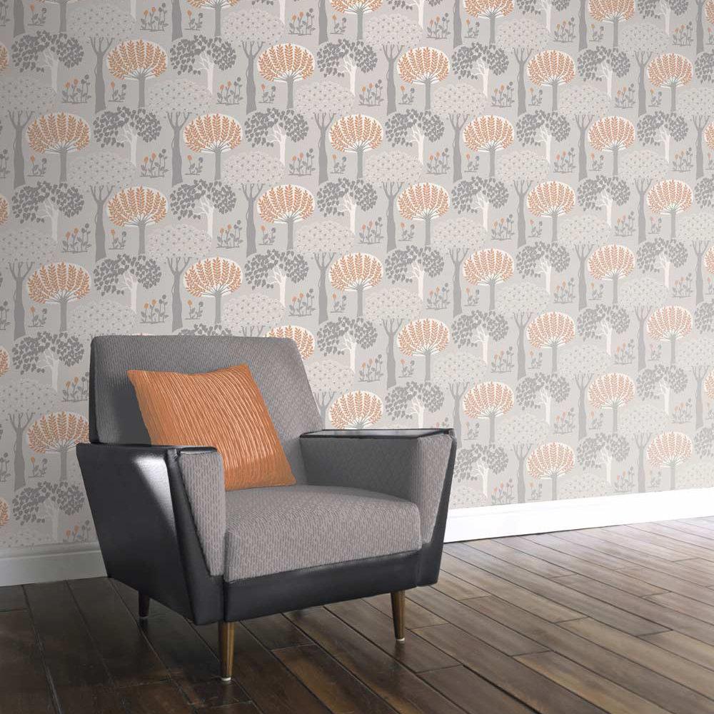 Arthouse Bernwood Orange / Grey Wallpaper - Product code: 416505