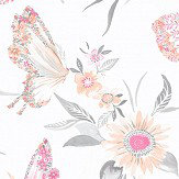 Albany Botanical Butterfly Coral Wallpaper - Product code: 90260