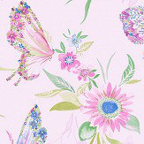 Albany Botanical Butterfly Pink Wallpaper