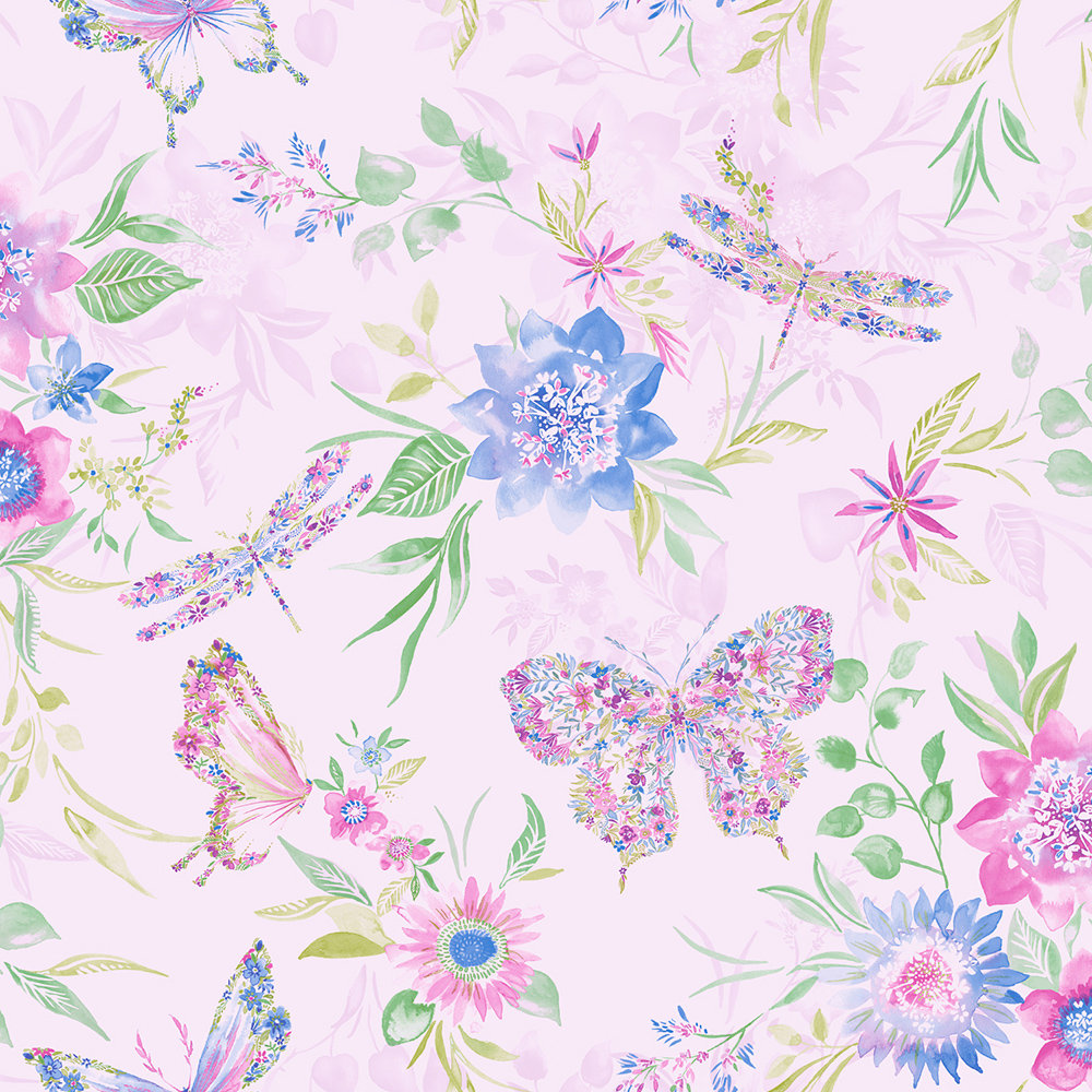 Albany Botanical Butterfly Pink Wallpaper main image