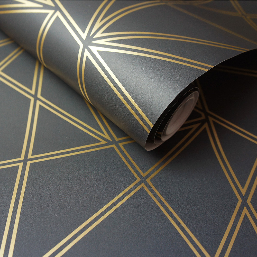 Albany Omega Black and Gold Wallpaper - Product code: 90274