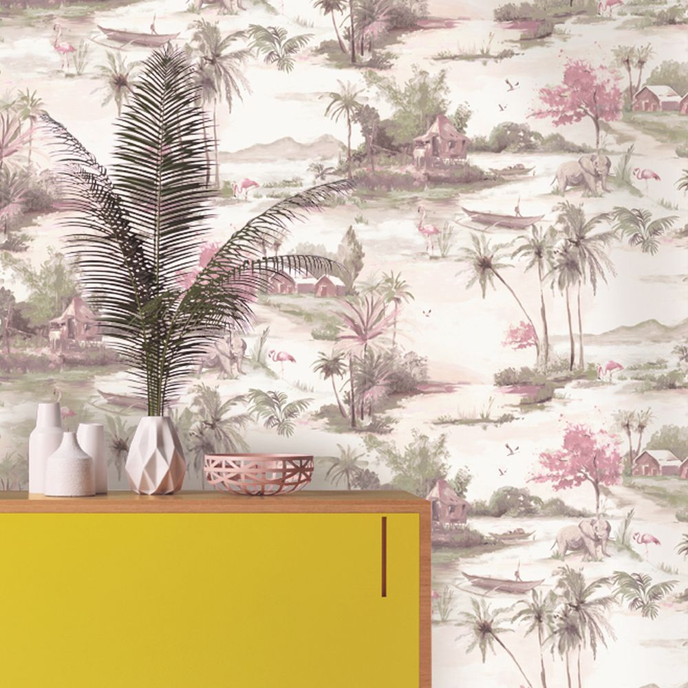 Albany Horizon Pink and Grey Wallpaper - Product code: 90310