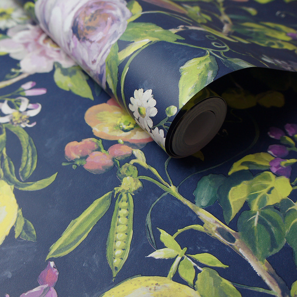 Mirabelle Wallpaper - Navy - by Albany