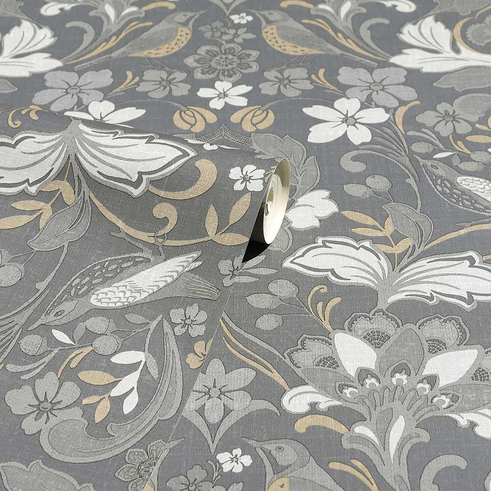 Folk Floral Wallpaper - Grey - by Arthouse