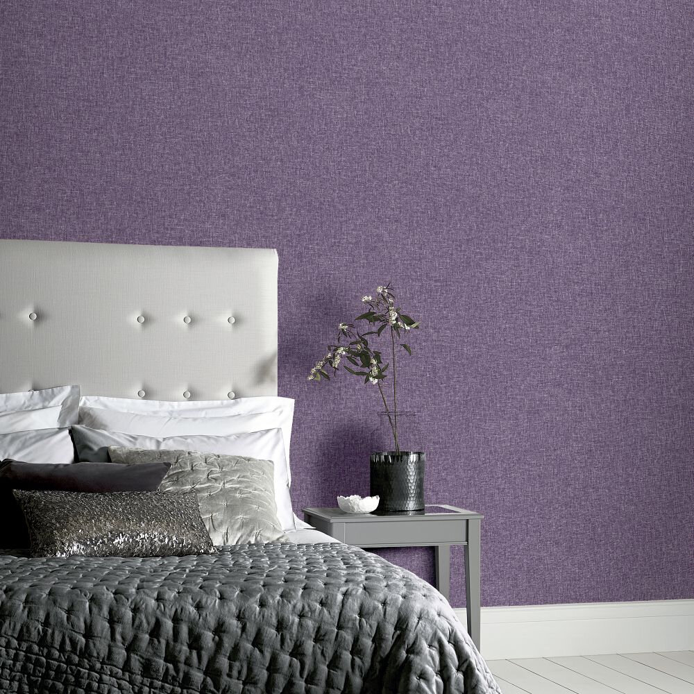 Linen Texture Wallpaper - Heather - by Arthouse