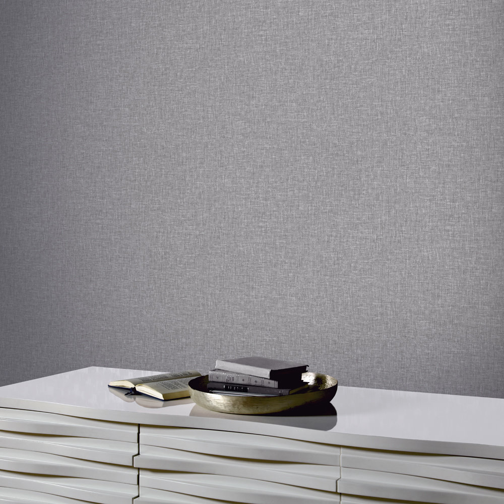 Arthouse Linen Texture Mid Grey Wallpaper - Product code: 676007