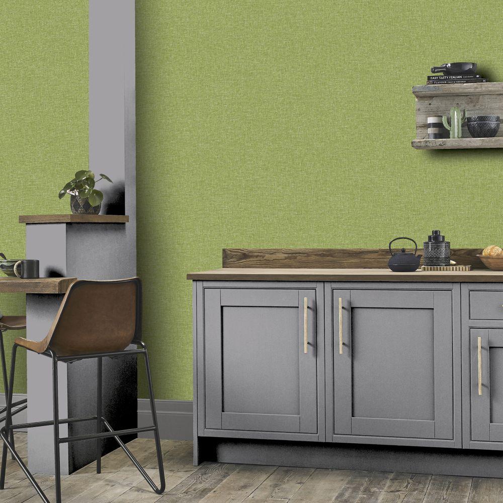 Linen Texture Wallpaper - Green - by Arthouse