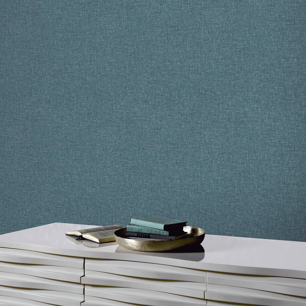Linen Texture Wallpaper - Teal - by Arthouse