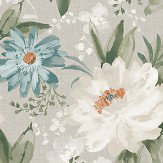 Arthouse Painted Dahlia Teal Wallpaper