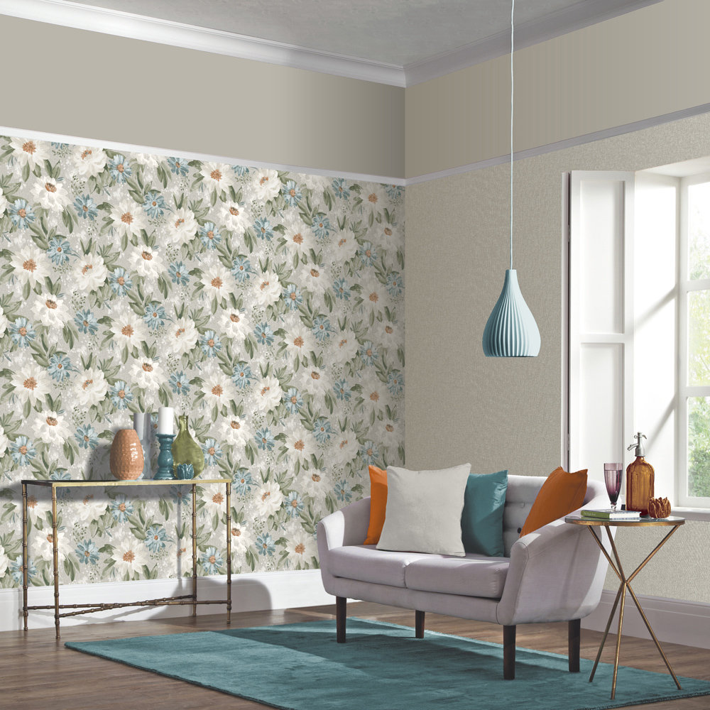 Painted Dahlia Wallpaper - Teal - by Arthouse
