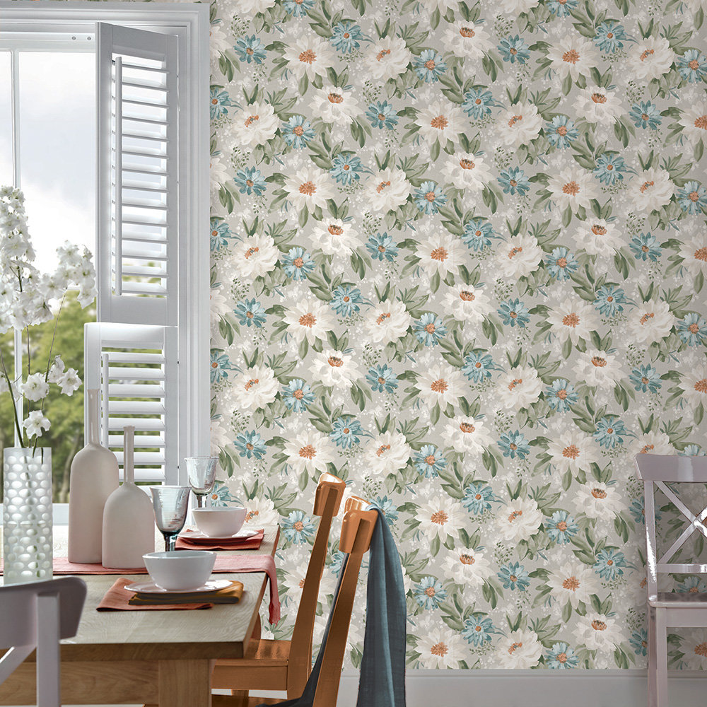 Arthouse Painted Dahlia Teal Wallpaper - Product code: 676104