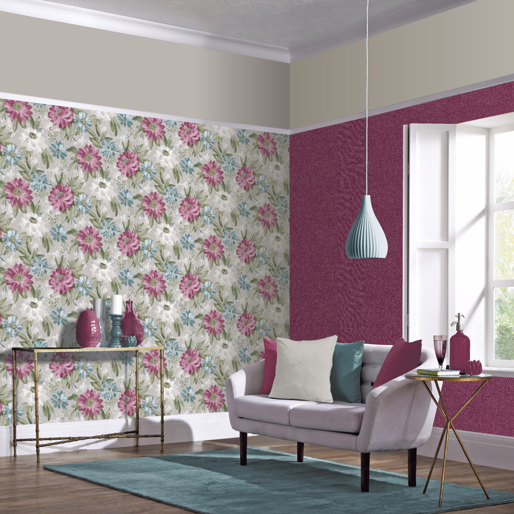 Arthouse Painted Dahlia Raspberry Wallpaper - Product code: 676107