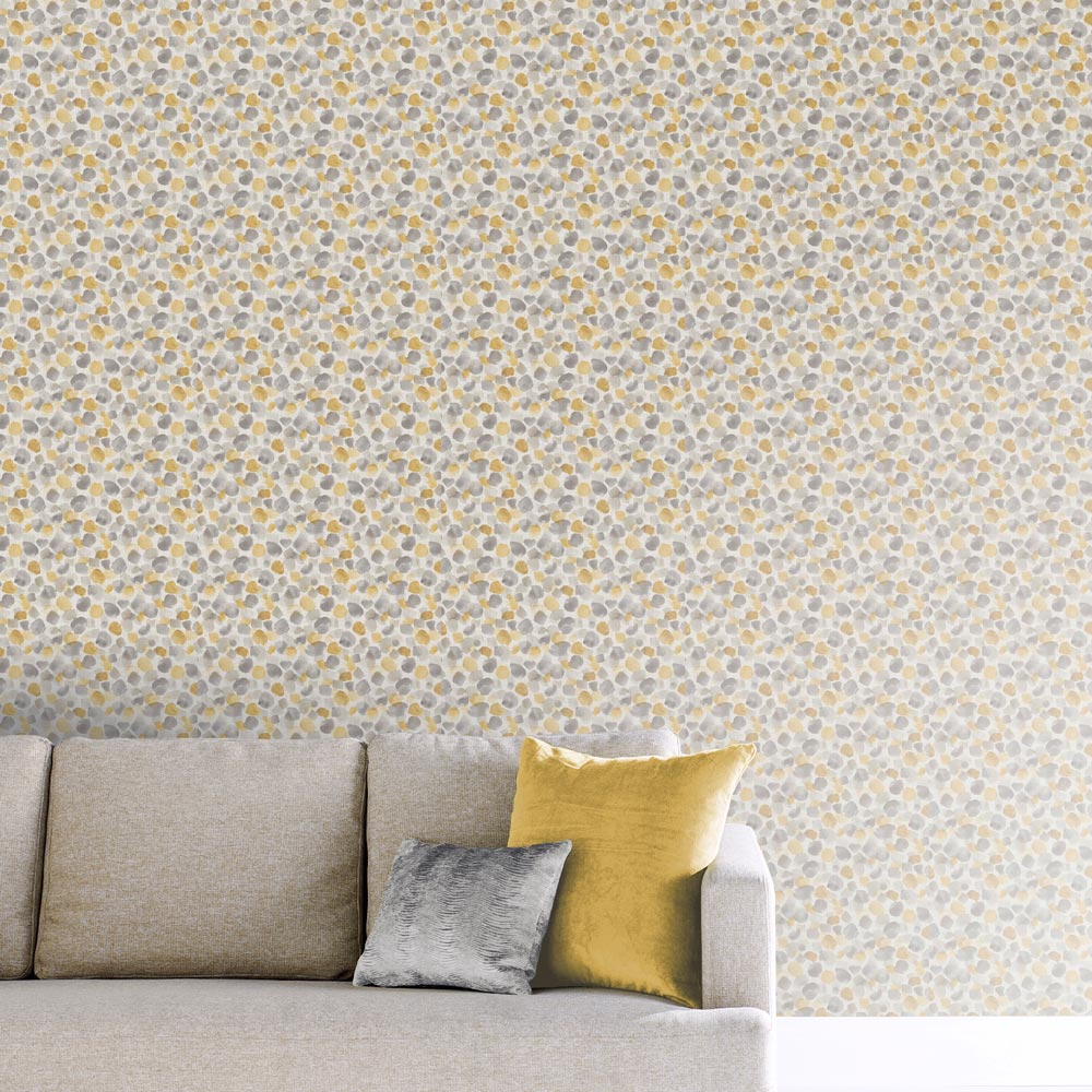 Painted Dots Wallpaper - Mustard Yellow - by Arthouse