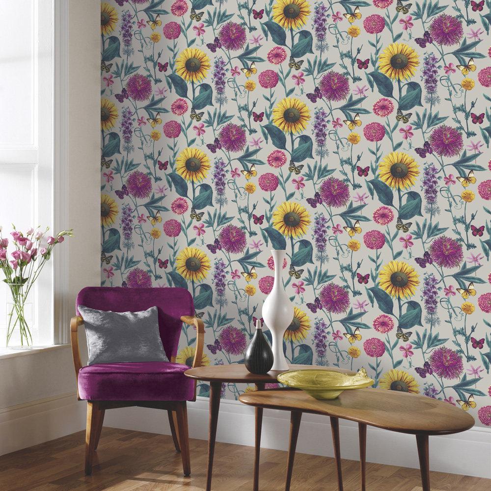 Arthouse Summer Garden Metallic Silver Wallpaper - Product code: 676204