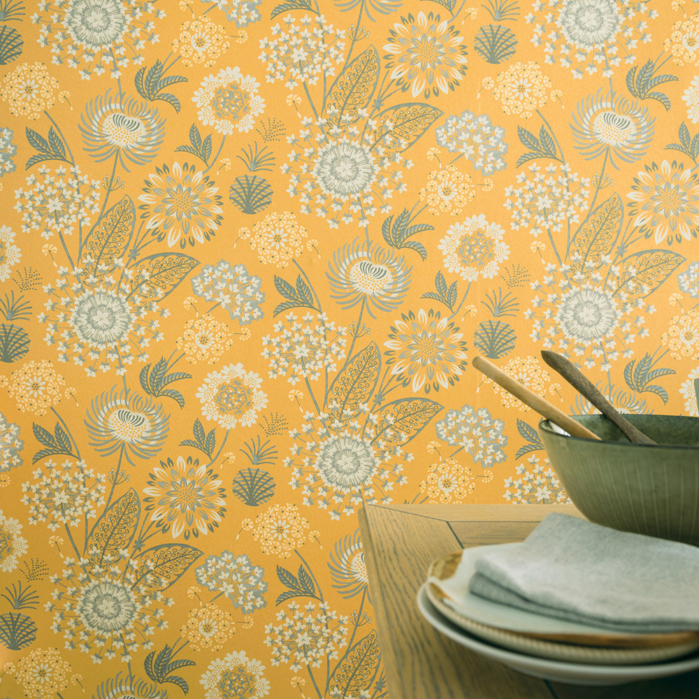 Arthouse Vintage Bloom Mustard Wallpaper extra image