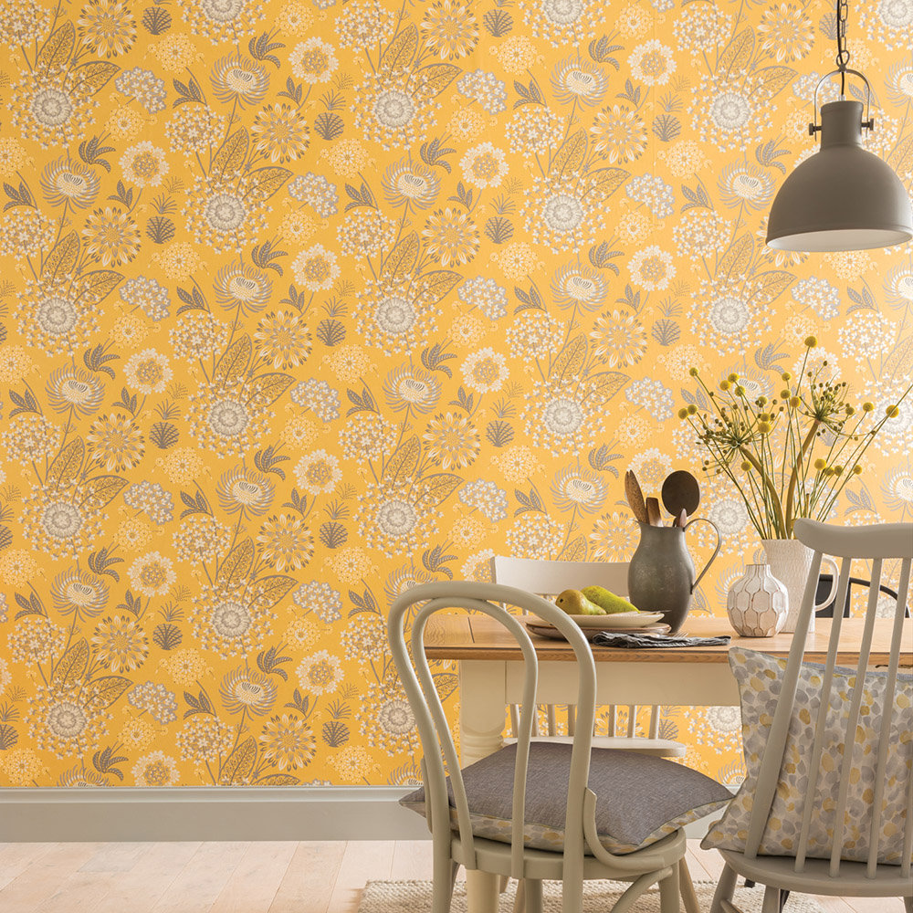 Vintage Bloom Wallpaper - Mustard - by Arthouse