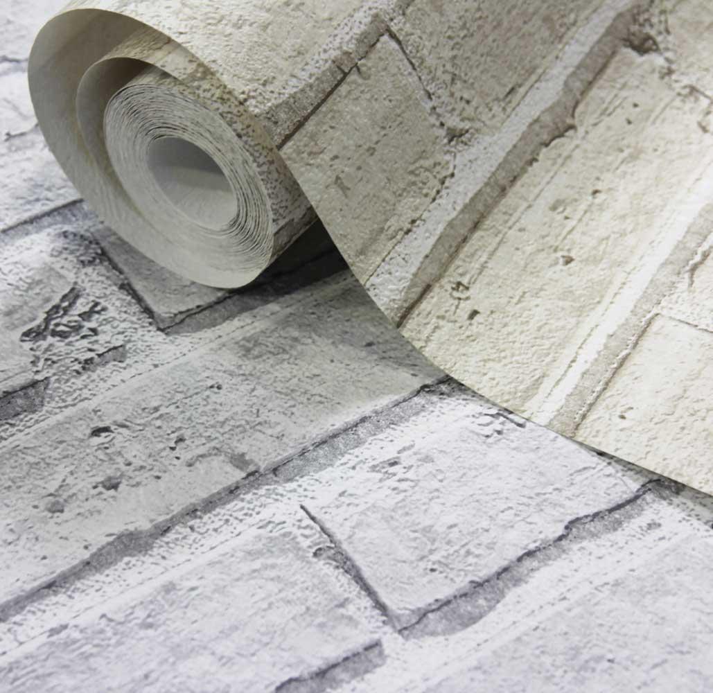 Arthouse City Brick White Wallpaper extra image