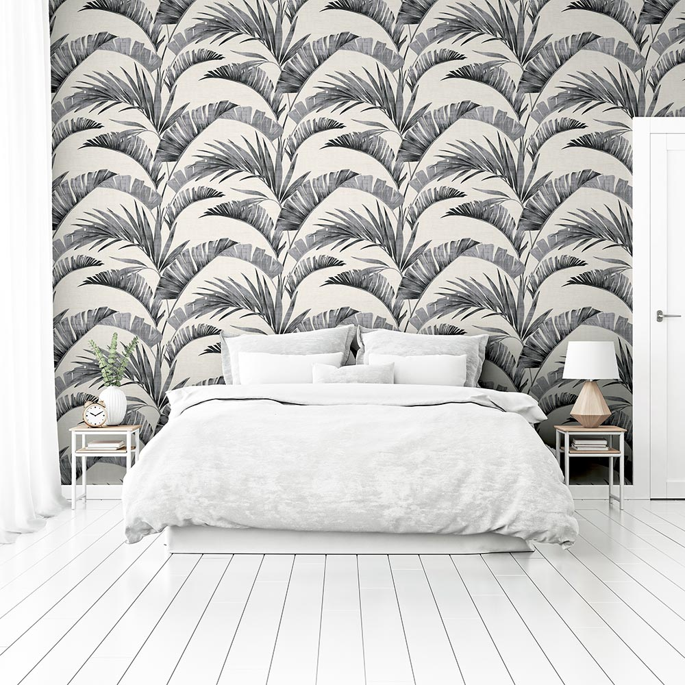 Banana Palm Wallpaper - Charcoal - by Arthouse