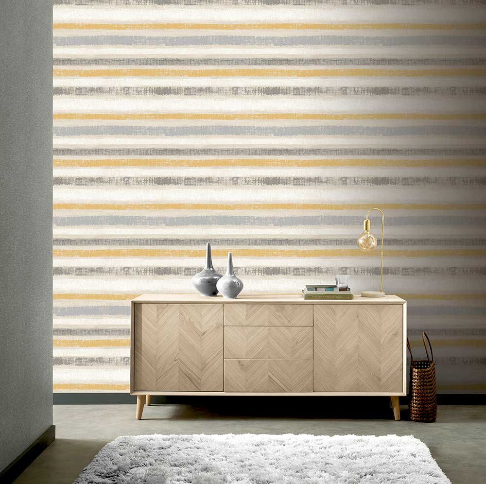 Painted Stripe Wallpaper - Ochre - by Arthouse