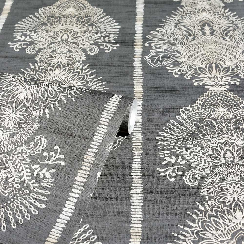 Silk Road Damask Wallpaper - Charcoal - by Arthouse