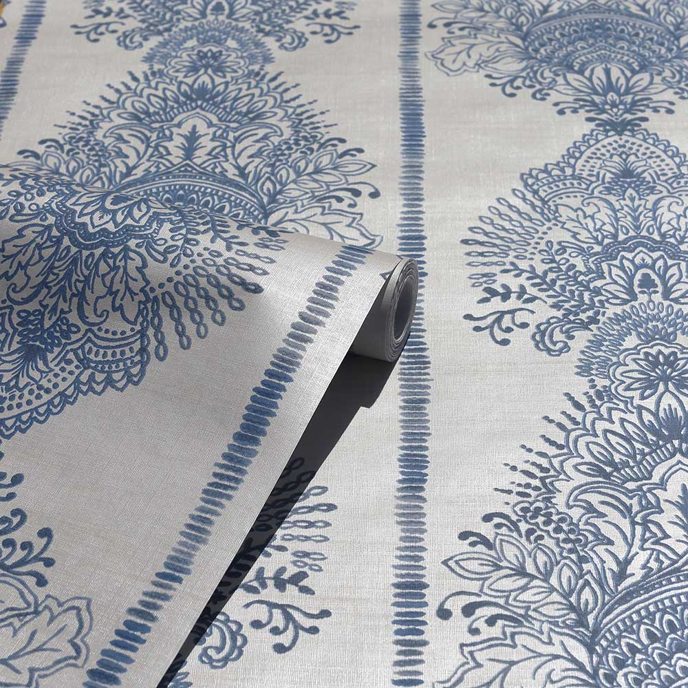 Silk Road Damask Wallpaper - Indigo - by Arthouse