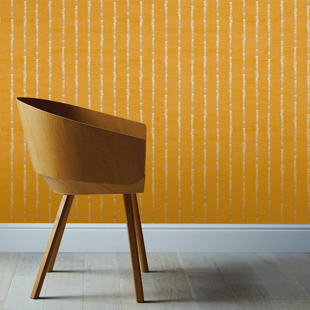 Arthouse Silk Road Stripe Ochre Wallpaper - Product code: 610608