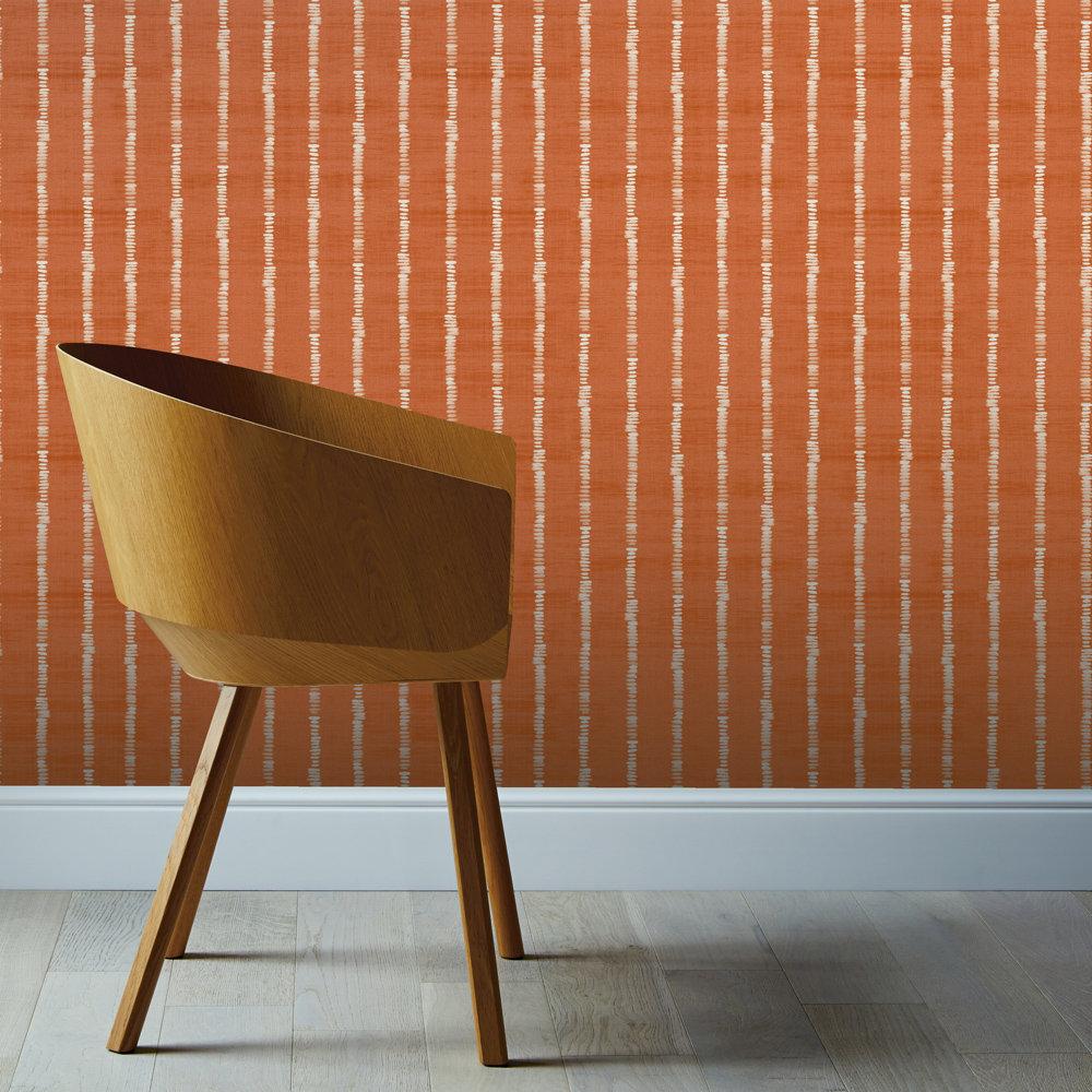 Arthouse Silk Road Stripe Terracotta  Wallpaper - Product code: 610609