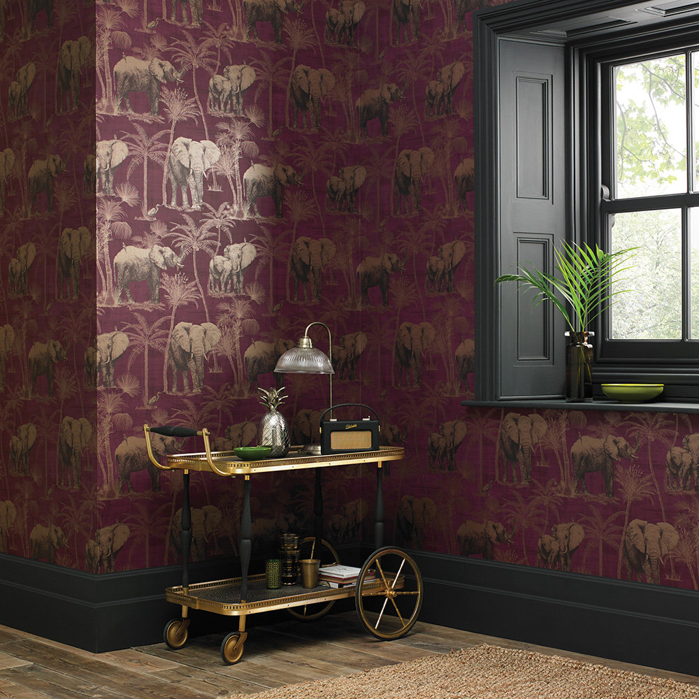 Elephant Grove Wallpaper - Aubergine and Copper - by Arthouse