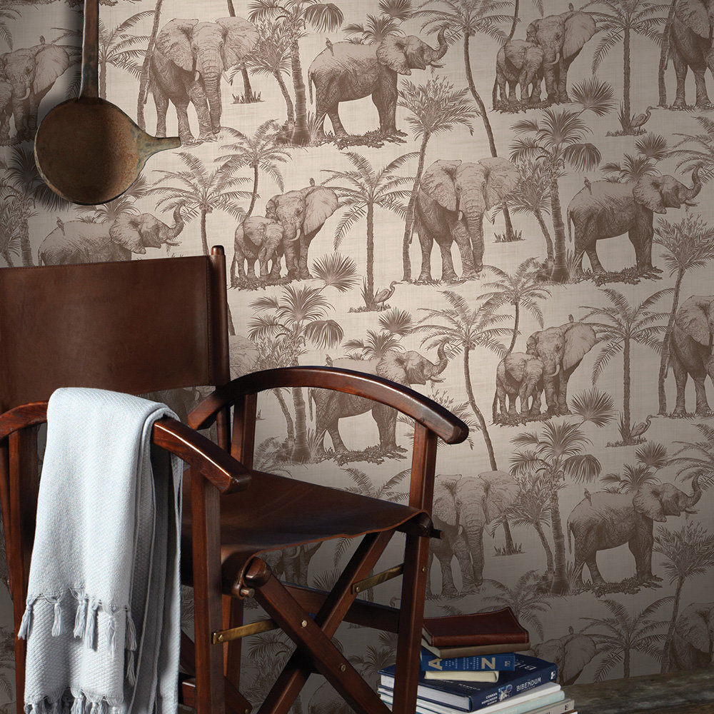 Elephant Grove Wallpaper - Coffee - by Arthouse
