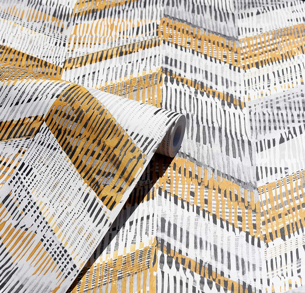 Chevron Weave Wallpaper - Ochre - by Arthouse