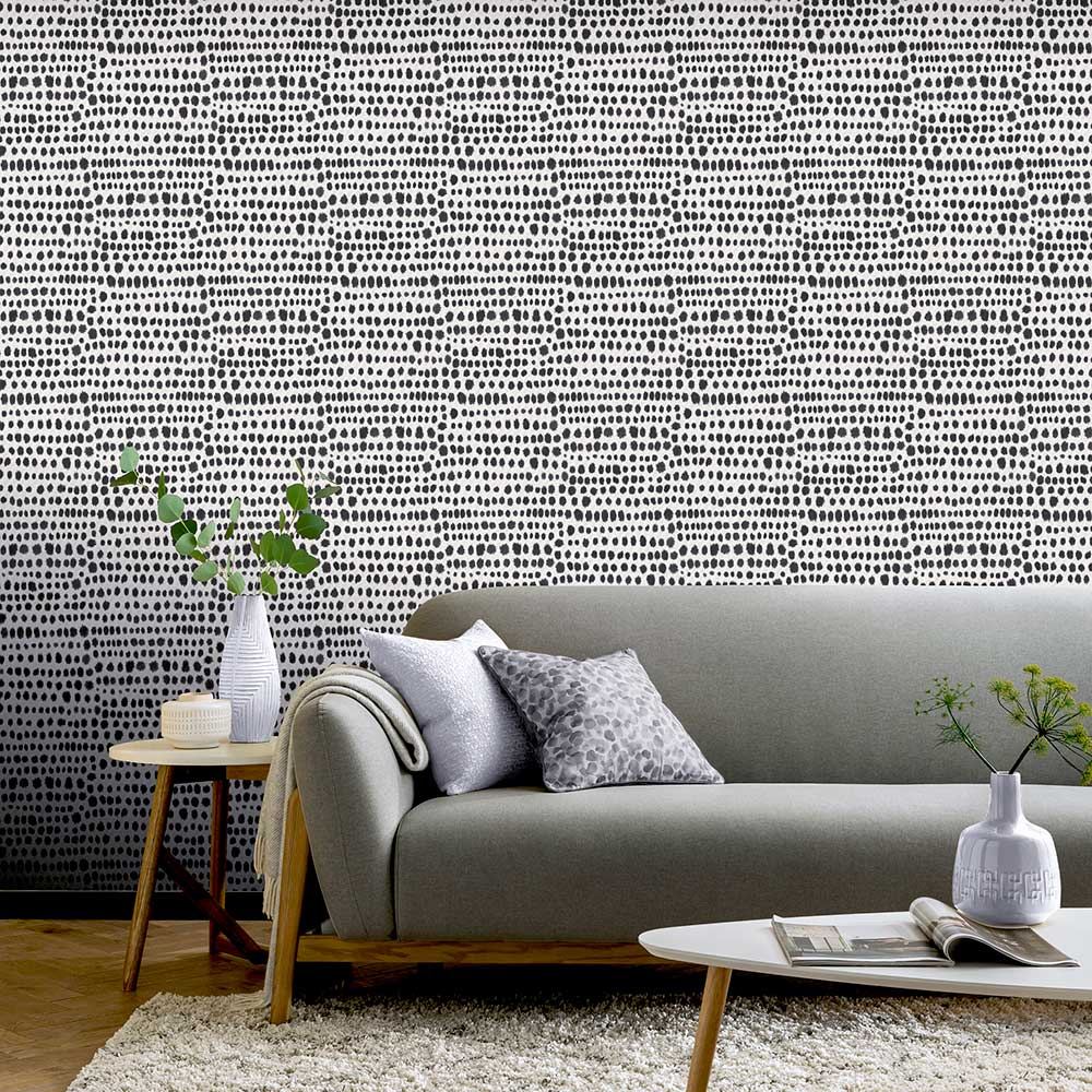 Tribal Wallpaper - Charcoal - by Arthouse