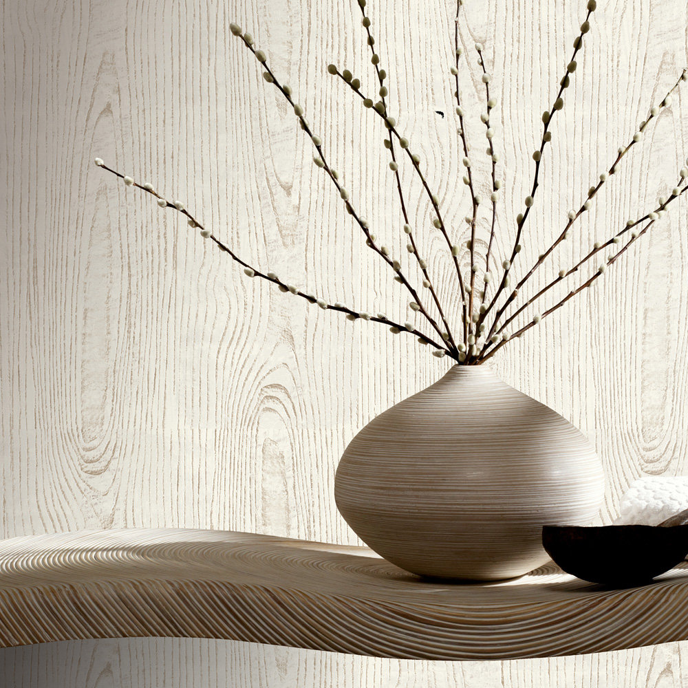 Wood Grain Wallpaper - Off White - by Arthouse