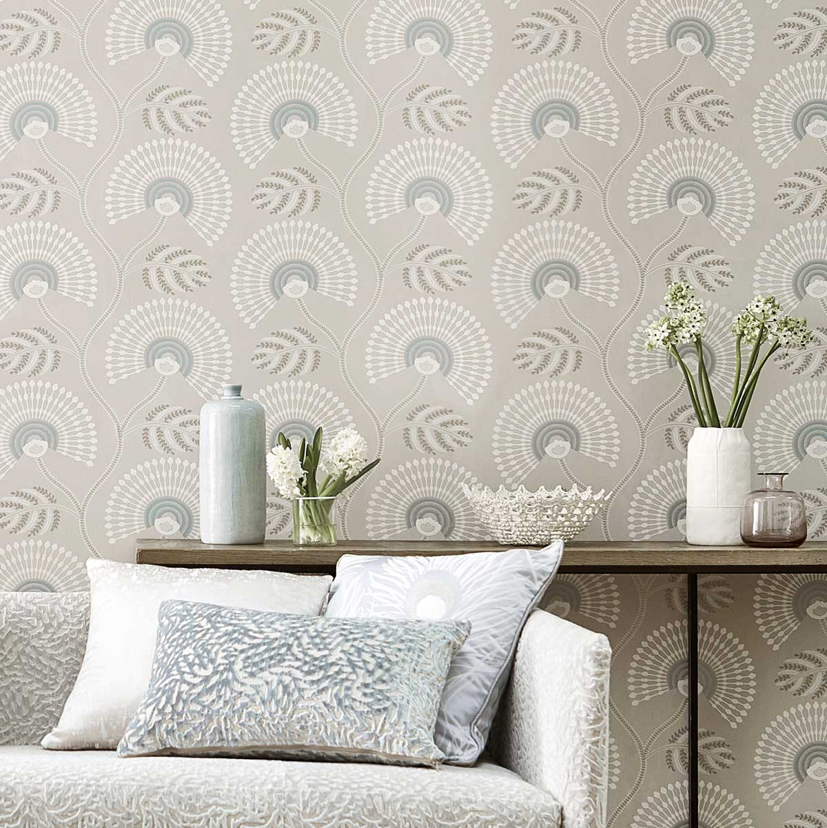Louella Wallpaper - Seaglass/Pearl - by Harlequin
