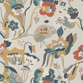 G P & J Baker California Teal and Ochre Wallpaper