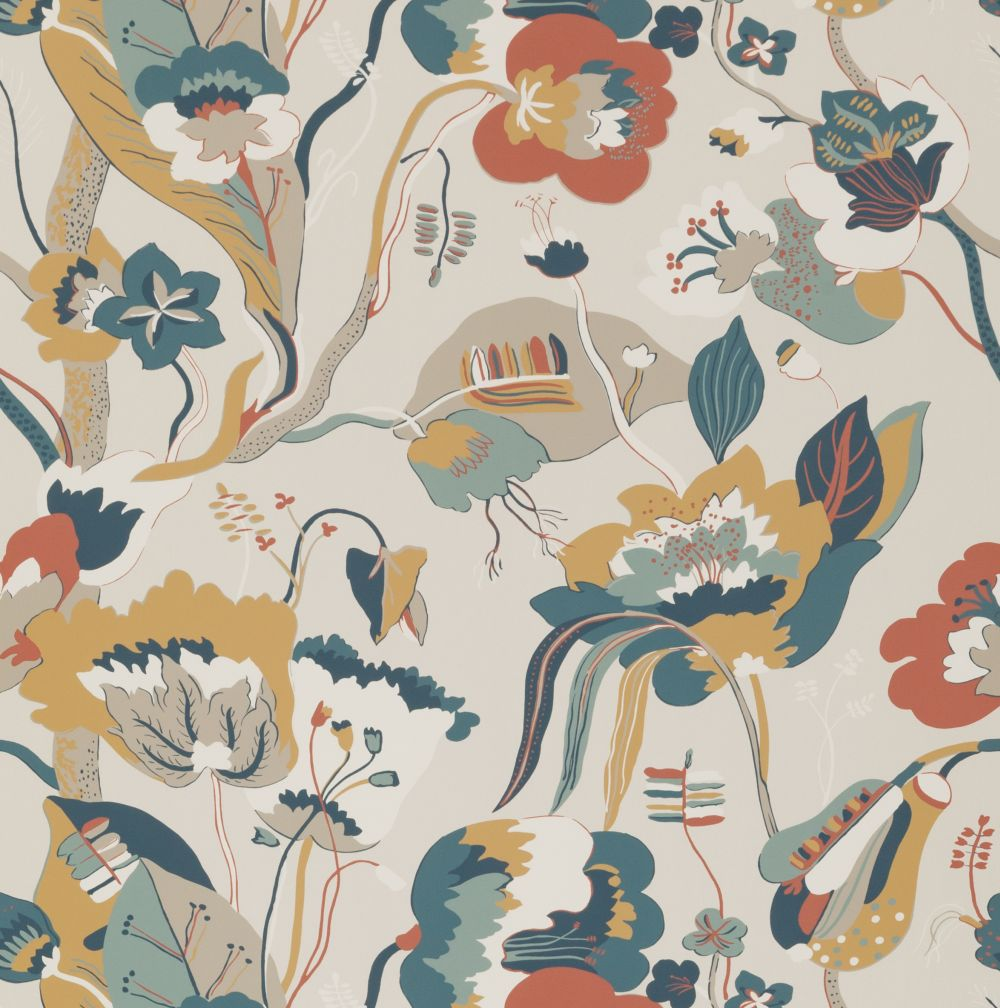 G P & J Baker California Teal and Ochre Wallpaper - Product code: BW45080/4