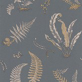 G P & J Baker Ferns Charcoal and Gold  Wallpaper