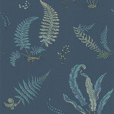 G P & J Baker Ferns Indigo and Teal Wallpaper