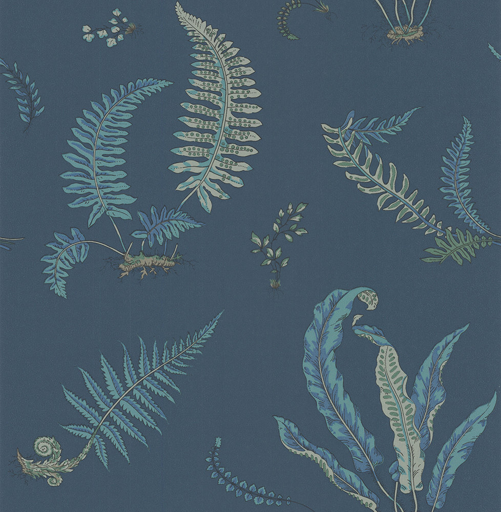 G P & J Baker Ferns Indigo and Teal Wallpaper main image