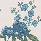 G P & J Baker Peony & Blossom Indigo / Teal Wallpaper - Product code: BW45066/5