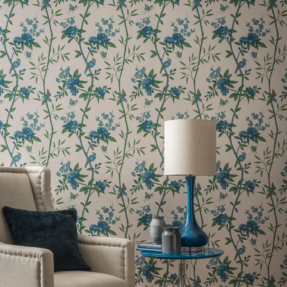 G P & J Baker Peony & Blossom Indigo / Teal Wallpaper - Product code: BW45066/5