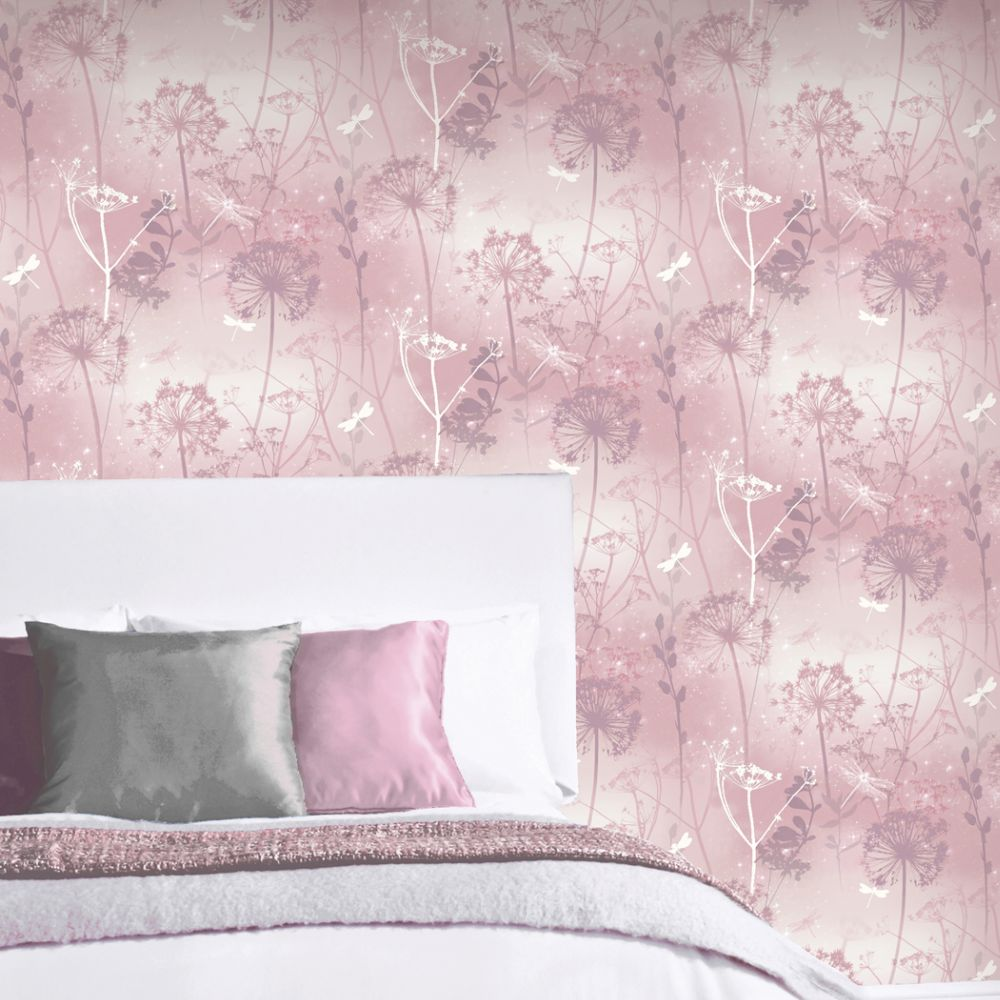 Damselfly Wallpaper - Blush - by Arthouse