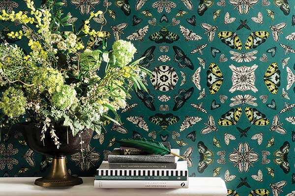 Arthouse Glitter Bug Emerald Wallpaper