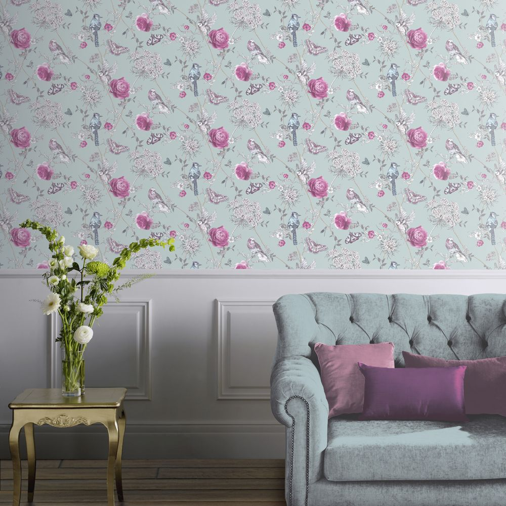 Arthouse Paradise Garden Duck Egg Wallpaper - Product code: 692401